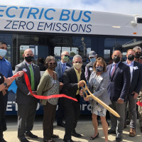 Ribbon Cutting at the Metro (All Electric Bus)
